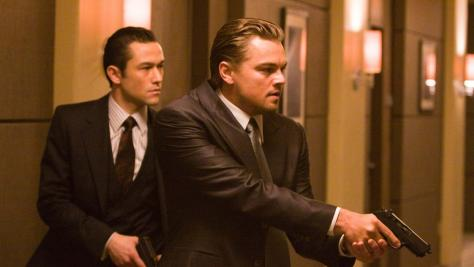 Joseph Gordon Levitt and Leonardo DiCaprio in Inception