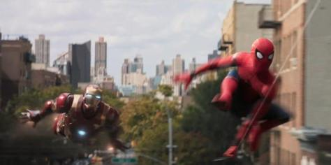 Tom Holland and Robert Downey Jr. in Spider-Man: Homecoming