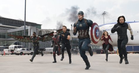 Anthony Mackie, Paul Rudd, Jeremy Renner, Sebastian Stan, Chris Evans, and Elizabeth Olsen in Captain America: Civil War