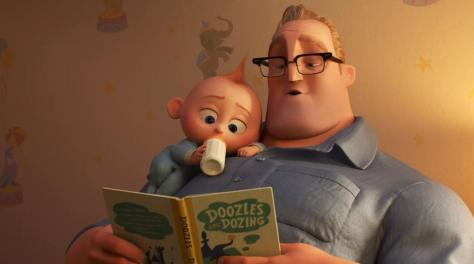 Jack-Jack and Mr. Incredible in The Incredibles 2