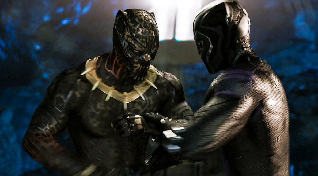 Michael B. Jordan and Chadwick Boseman in Black Panther